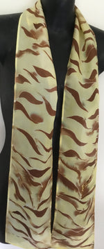 Tiger Stripe Skinny - Hand painted Silk Scarf - Satherley Silks NZ