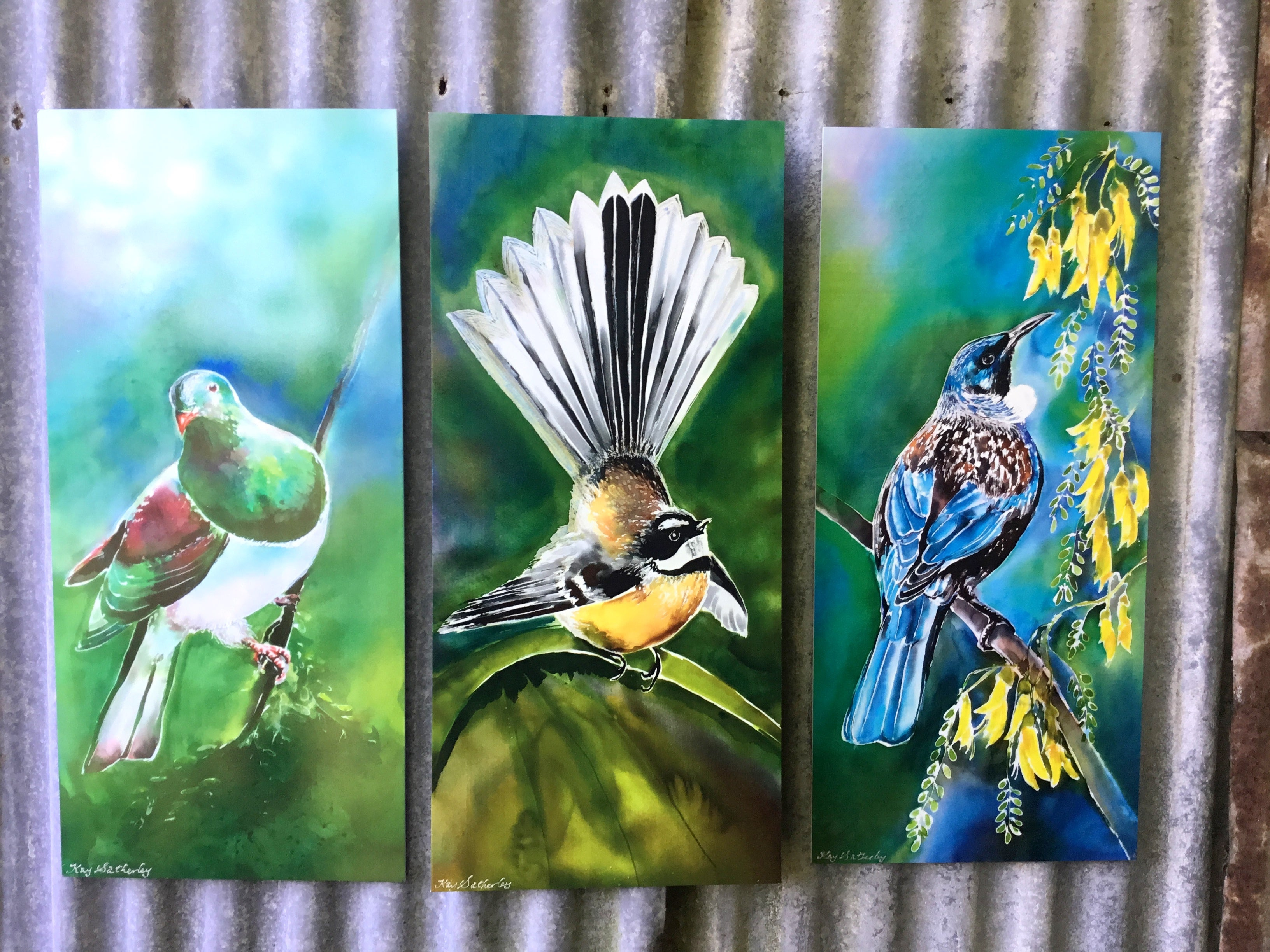 Special: A Trio of Tui/Kowhai, Kereru & Fantail - Outdoor Garden Art Panel - Satherley Silks NZ