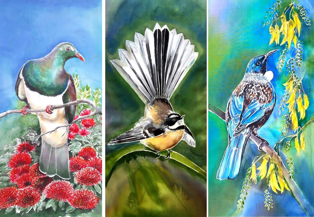 Special: A Trio of Kereru/ Pohutukawa, Fantail & Tui/Kowhai  - Outdoor Garden Art Panels - Satherley Silks NZ