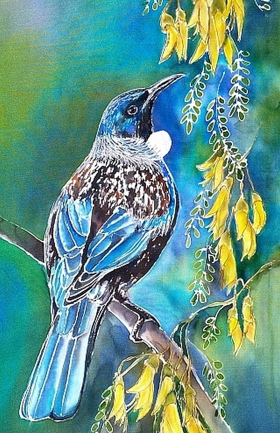 New Zealand Tui Bird on Kowhai Tree - Outdoor Garden Art tile Mini Panel. - Satherley Silks NZ