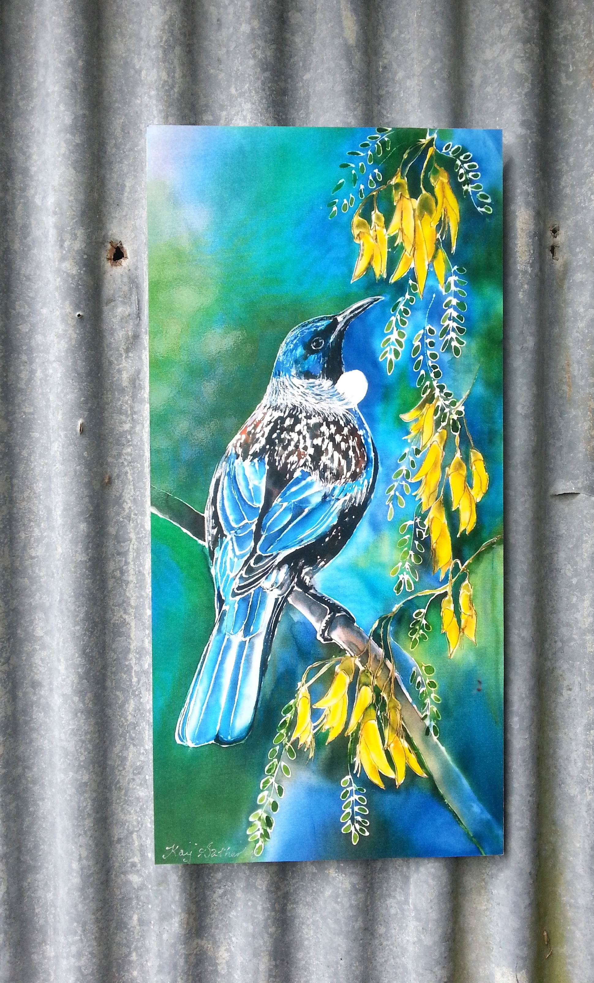 New Zealand Tui Bird on Kowhai Tree - Outdoor Garden Art Panel - Satherley Silks NZ