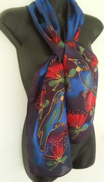Tui and Pohutukawa - Hand painted Silk Scarf - Satherley Silks NZ