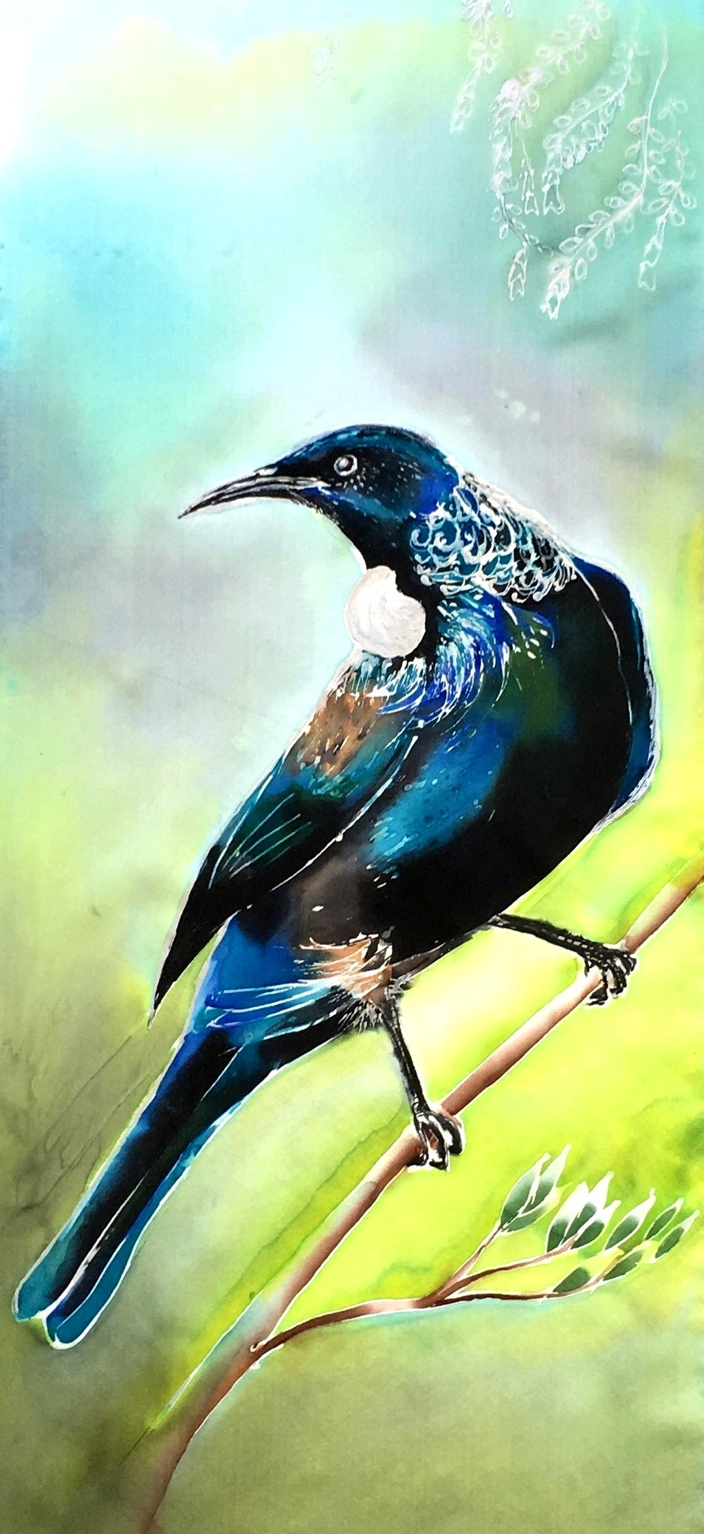 New Zealand Tui Bird - Outdoor Garden Art Panel - Satherley Silks NZ