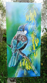 New Zealand Tui Bird on Kowhai Tree - Outdoor Garden Art Panel