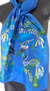 Tui with Kowhai Tree - Hand painted Silk Scarf - Satherley Silks NZ