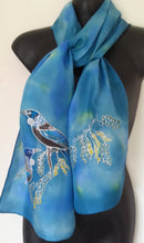 New Zealand Tuis & Kowhai Tree, Hand Painted Silk Scarf - Satherley Silks NZ