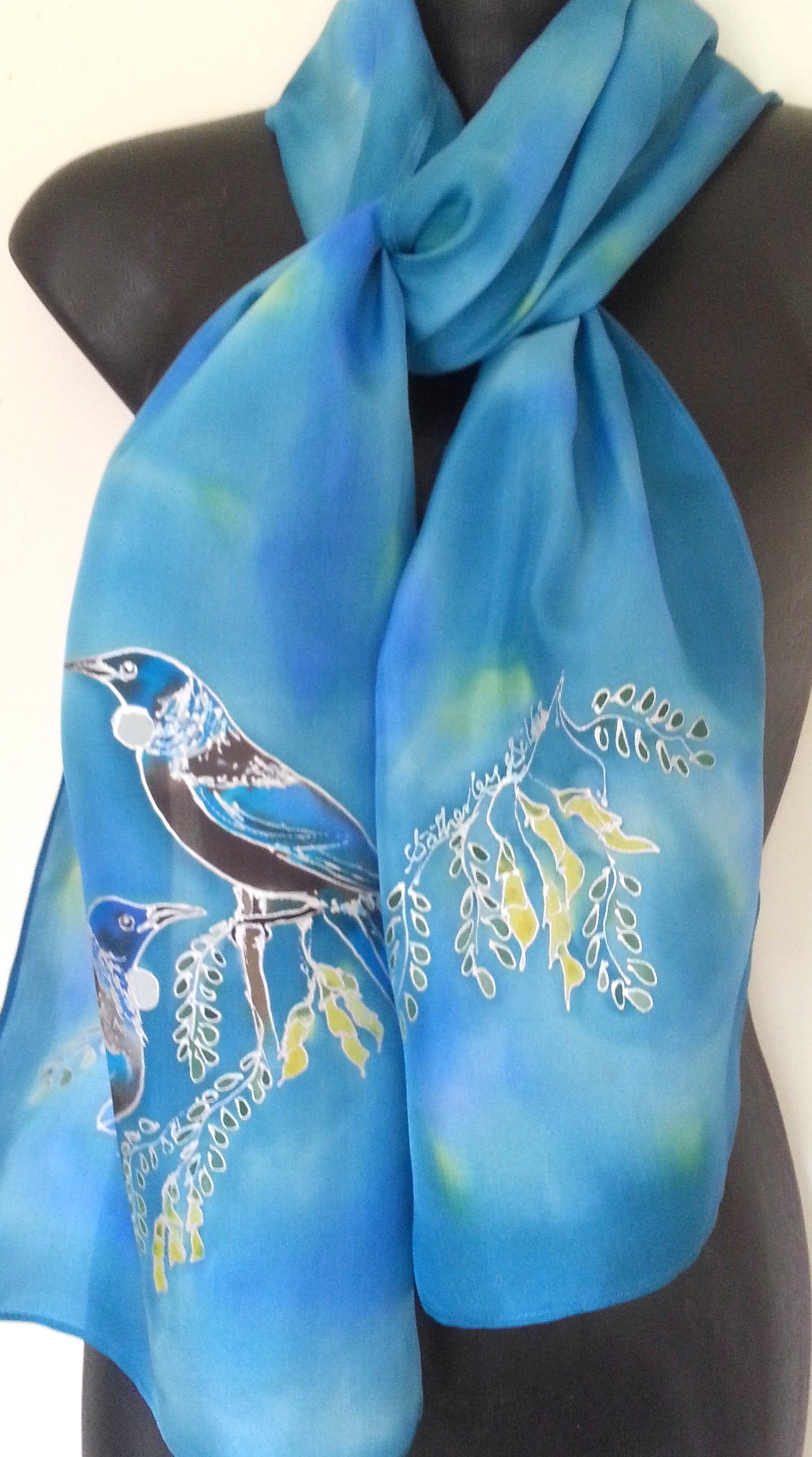 New Zealand Tuis & Kowhai Tree - Hand painted Silk Scarf - Satherley Silks NZ