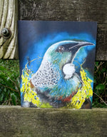 Tui Portrait, with Kowhai Necklace - Small  Outdoor Garden Art Panel