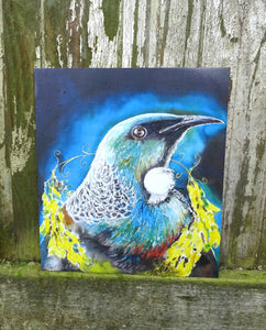 Tui Portrait, with Kowhai Necklace - Small  Outdoor Garden Art Panel - Satherley Silks NZ