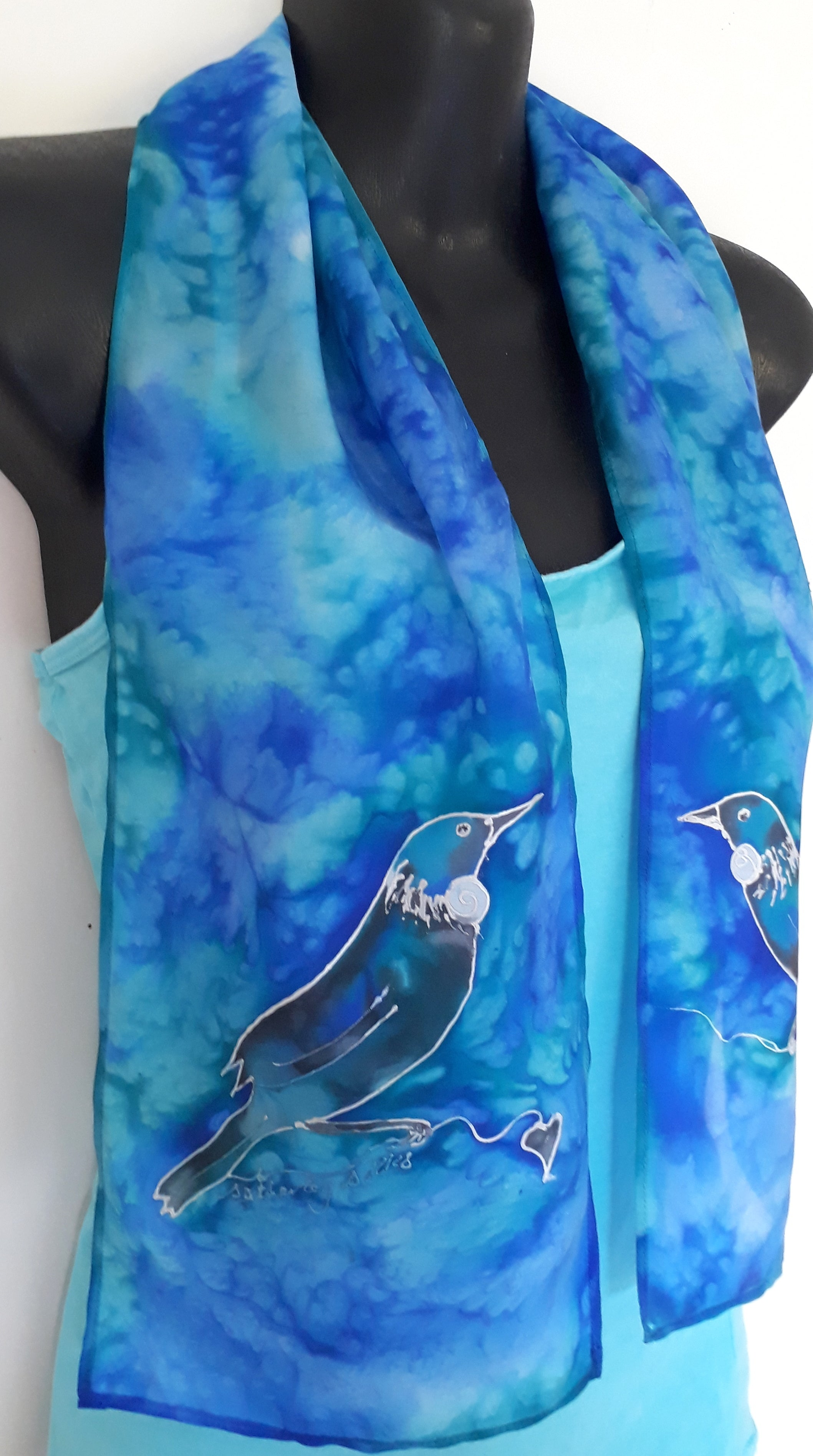 Tui NZ Bird Silk Scarf - Satherley Silks NZ