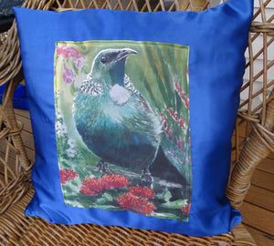 Tui and NZ Flora on Satin - Printed Cushion Cover.
