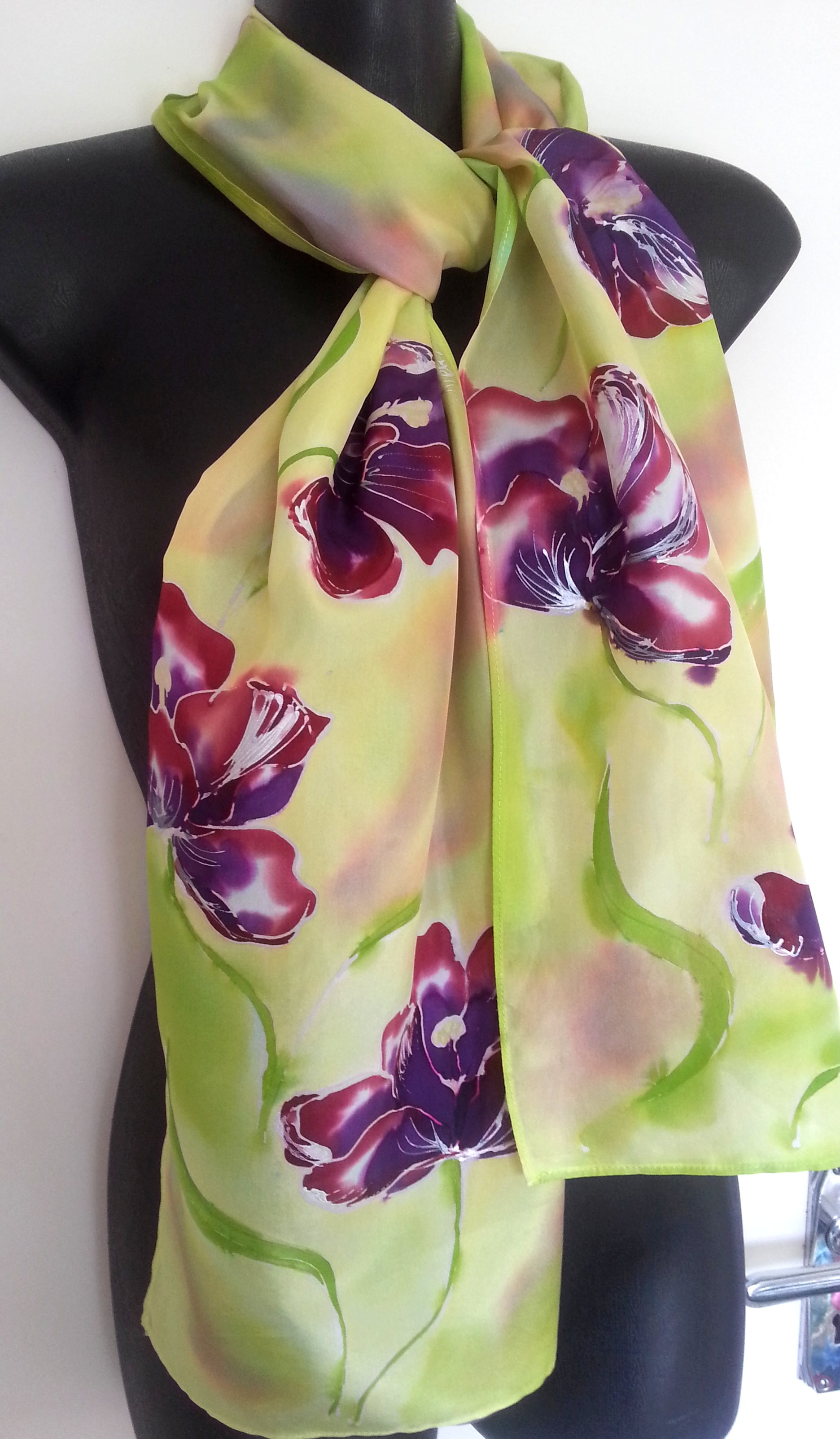 Tulips in Wine and Purple, on Lemon and Lime silk Scarf - Satherley Silks NZ