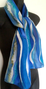 Beach Waves - Hand painted Silk Scarf - Satherley Silks NZ
