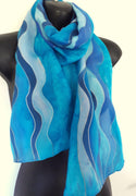 Ocean Waves - Hand Painted Silk Scarf - Satherley Silks NZ