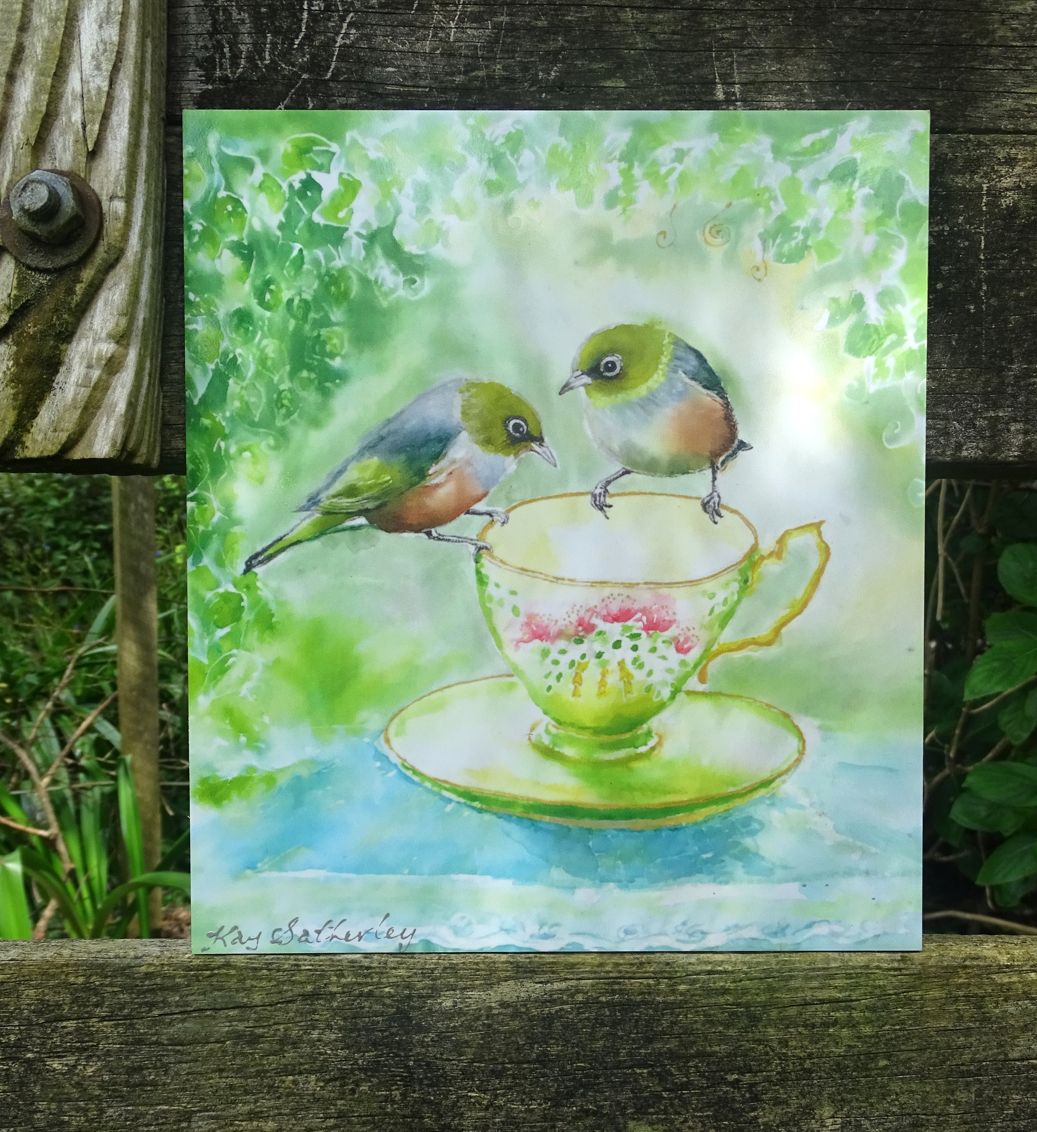 SilverEyes on Teacup - Outdoor Art Panel 25cm x 22cm