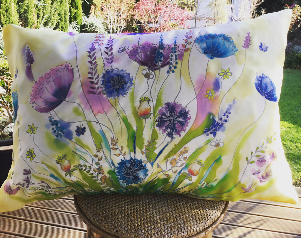 Wild Flower Commissioned Cushion - Satherley Silks NZ