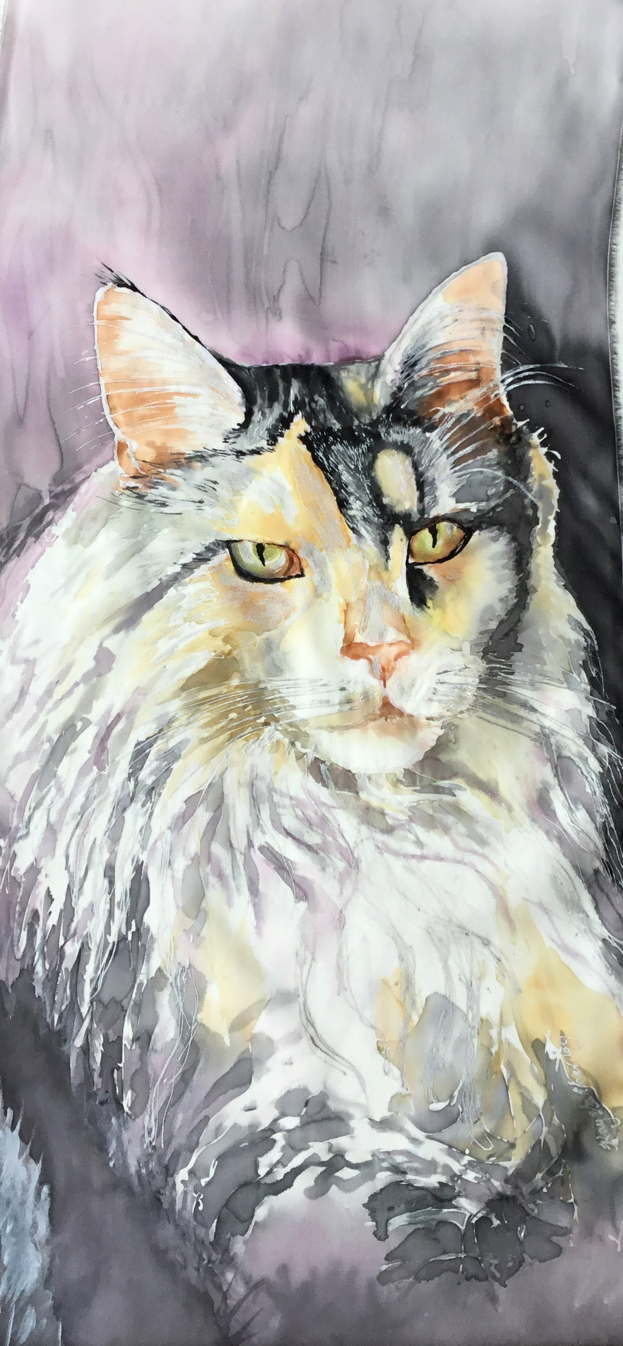 Commissioned Silk Painting of a Maine Coon cat. Bespoke Silk Art - Satherley Silks NZ
