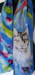 Main Coon Cat, Pet Portrait Silk Scarf - Satherley Silks NZ