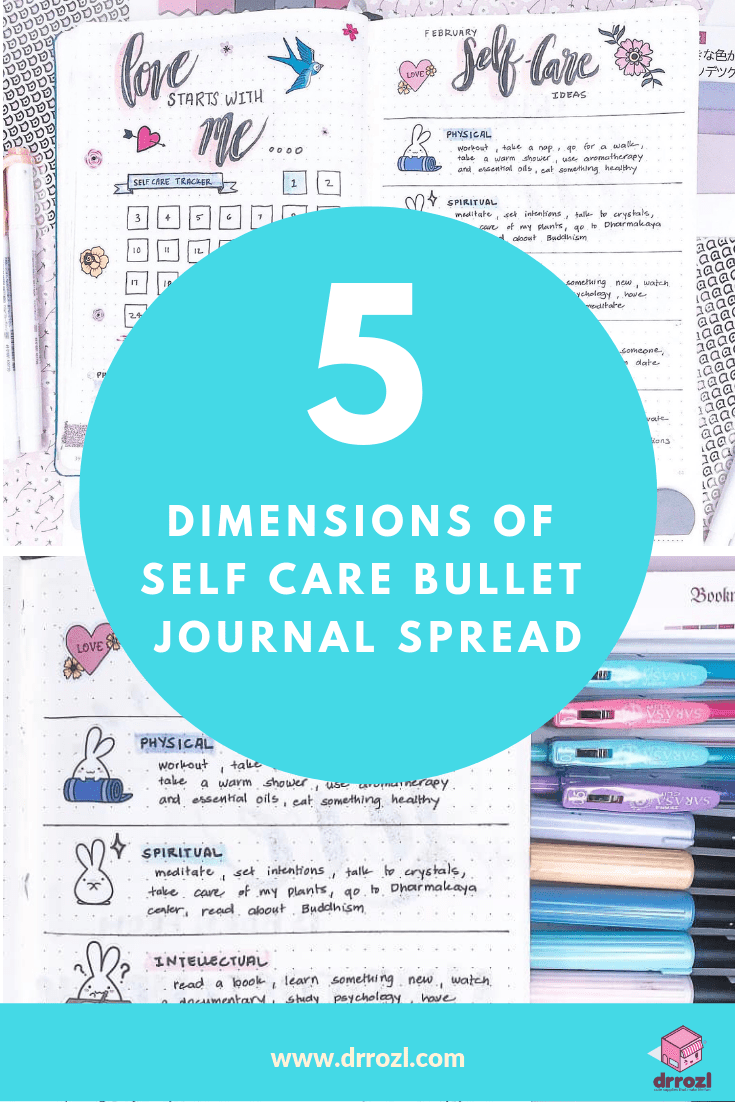The Five Dimensions of Self Care Bullet Journal Spread