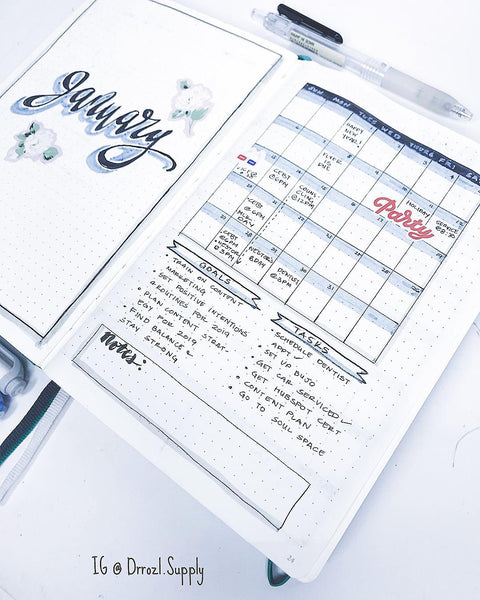 January bullet journal monthly log