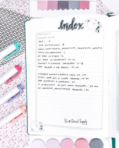 pastel bullet journal index markers
