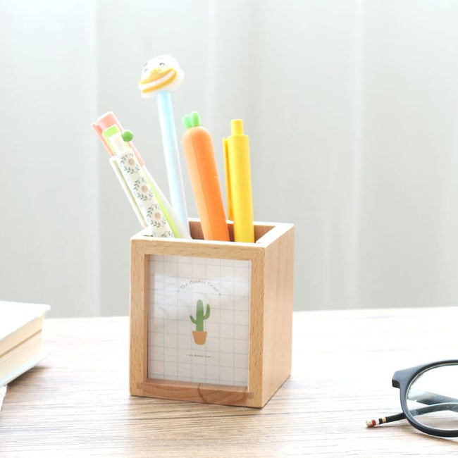 Wooden Succulent Photo Frame Pen Container - Dr. Rozl Supply