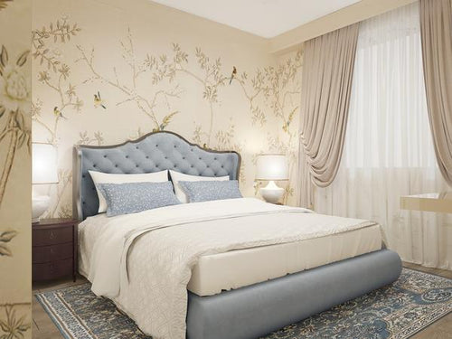 Project Spotlight: Elegant Bedroom with Classic Chinoiserie Walls