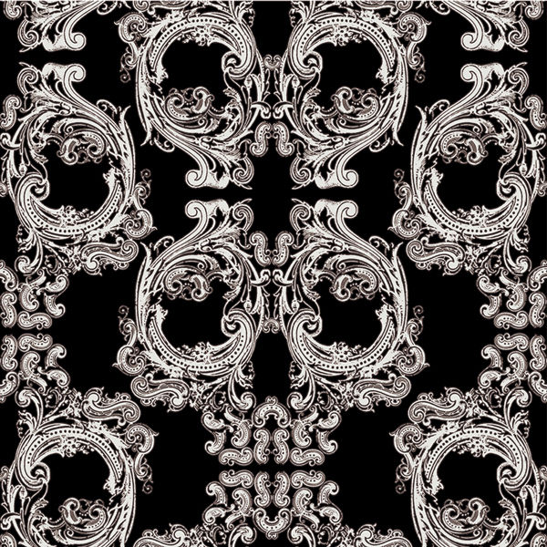 "Skull Damask - 10"" H Repeat - White Skulls on Black - Pattern De"