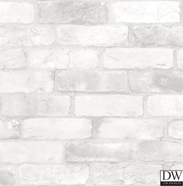 Reclaimed Bricks White Rustic Wallpaper