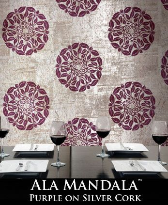 Ala Mandala������ - Purple Print on Silver Cork
