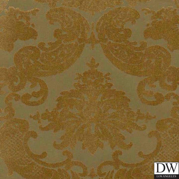 Victorian Flocked Velvet Wallpaper - Gold on aged Gold