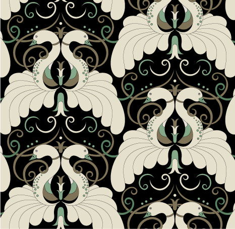 Deco Swans - 01 Aged Gold/Lt Green on Black
