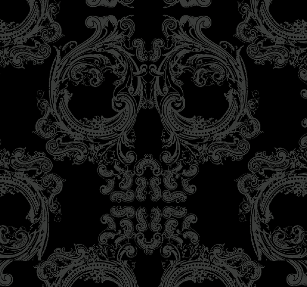 "Skull Damask - Version 1.0 - 10"" H Repeat - Textured Grey"