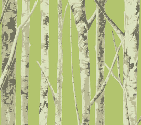 Bella Birch Trees - Lime Green and Beige