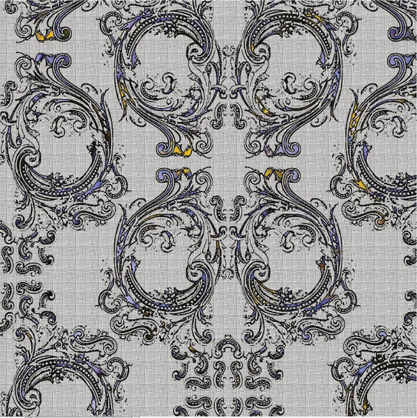Noah's Baroque Skulls - Linen Grey with Purple and Gold - Patter