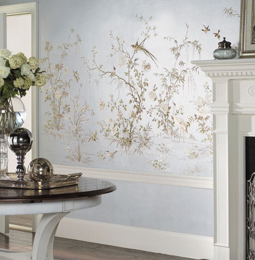 Silver Leafed Chinoiserie Wall Mural