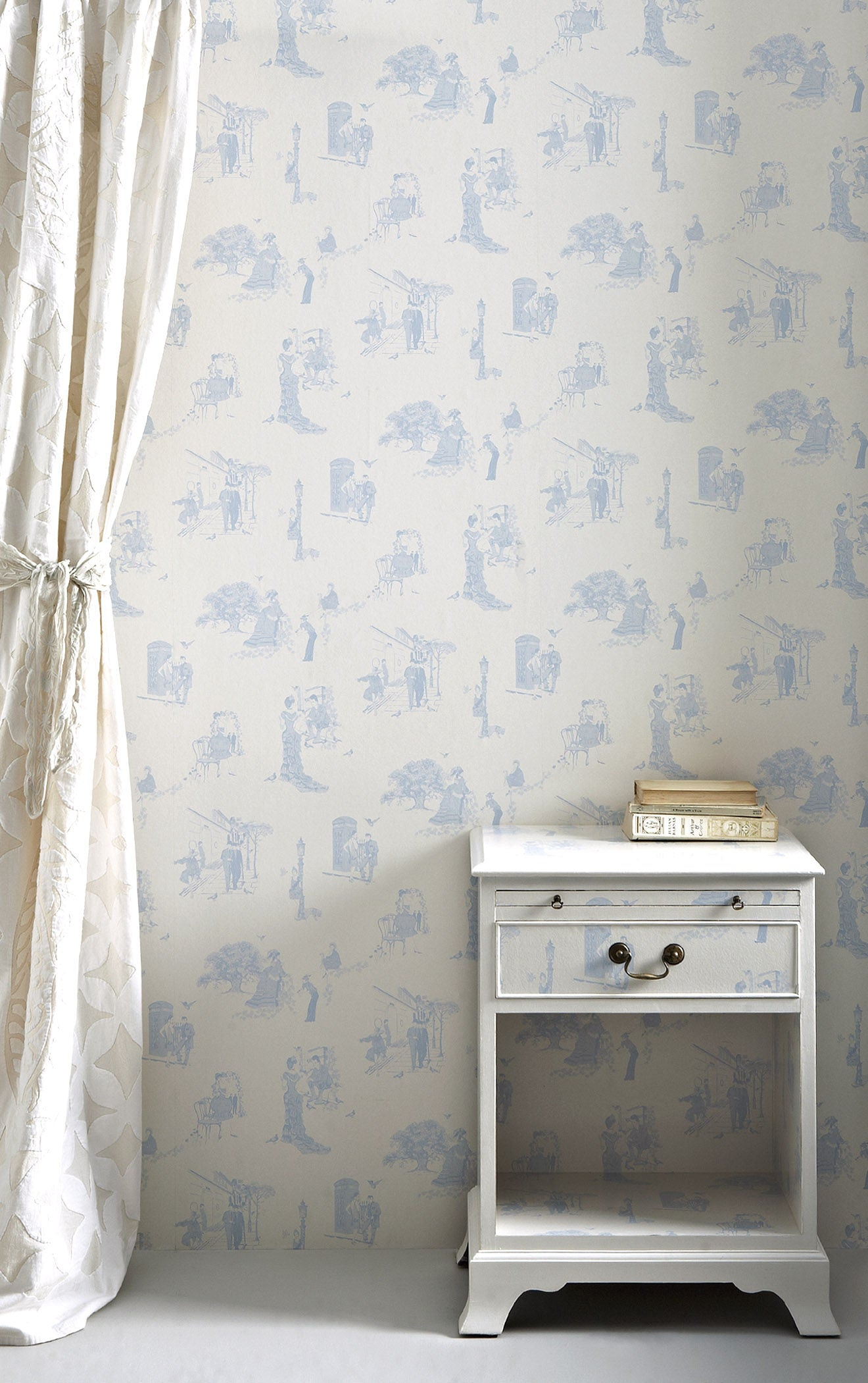 Promenade City Toile De Joi Wallpaper Wedgewood Blue Designer