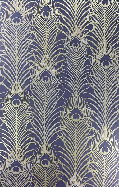 Pippy's Peacock Wallpaper - Dark Blue