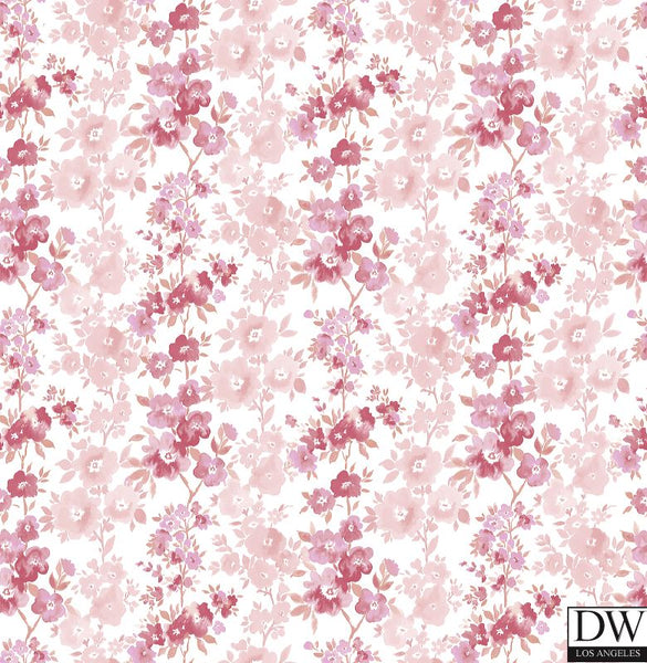 Charlise Pink Floral Stripe Wallpaper