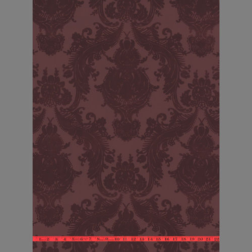 Victorian Flocked Velvet Wallpaper - Tone on Tone Burgundy 1