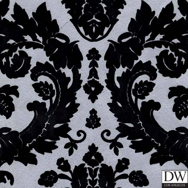 Victorian Flocked Velvet Wallpaper - Black on Silver