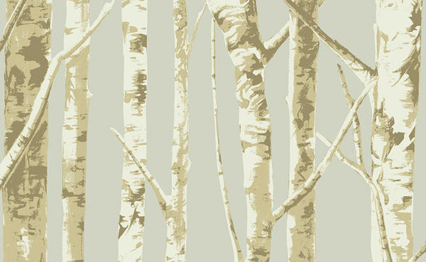 Bella Birch Trees - Cream, Beige, Taupe