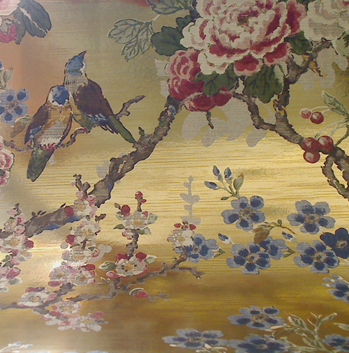 Zuberista On Mylar - Floral and Birds on Gold Shiny Mylar