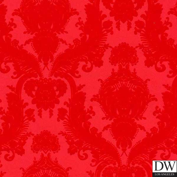 Victorian Flocked Velvet Wallpaper - Tone on Tone - Red on Red