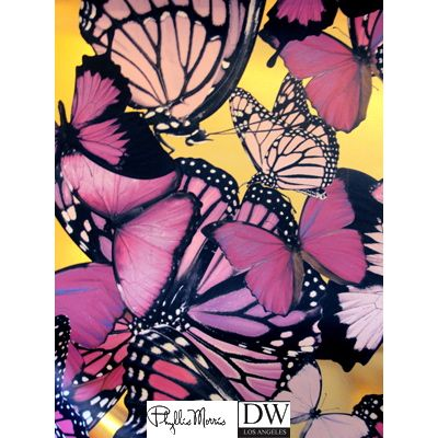 Chanteuse Big Butterflies - Pink on Gold