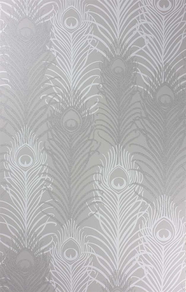 Pippy's Peacock Wallpaper - Silver
