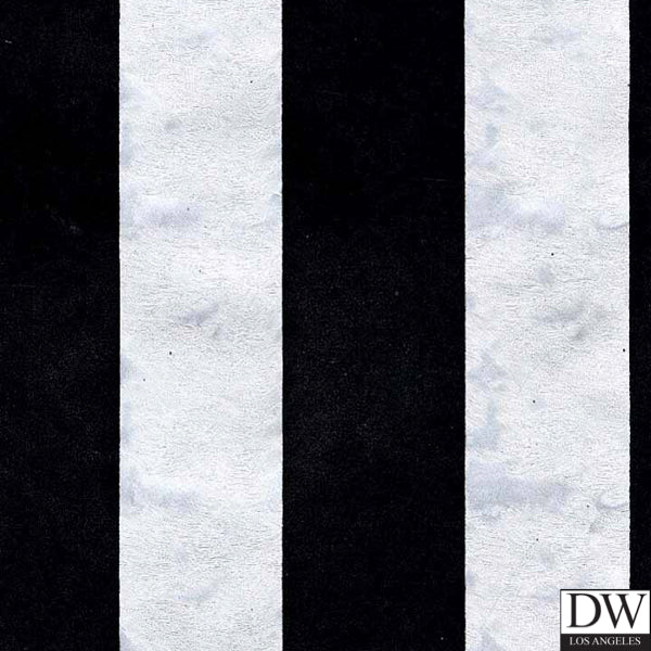 Victorian Flocked Velvet Wallpaper - Black on Silver Stripes