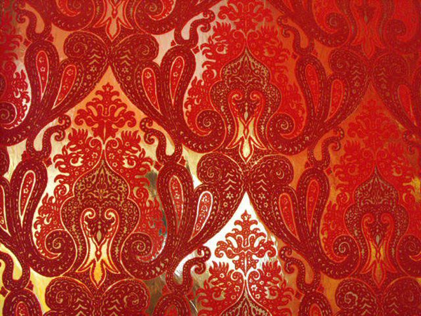 Morrocan Flocked Velvet Wallpaper - Red / Burgundy