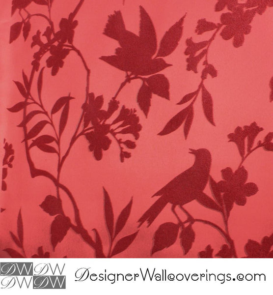 Bird Vine Flock Velvet Wallpaper