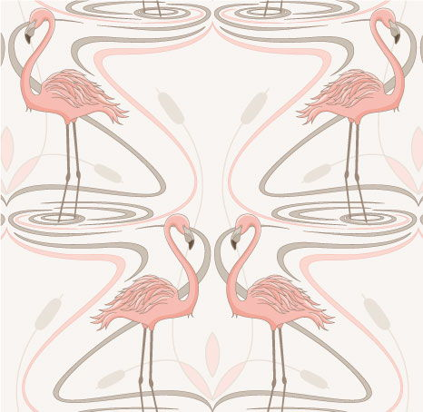Pink Flamingos - 071 Pastel Pink/light taupe on White